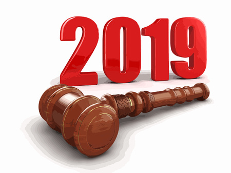 3d wooden mallet and 2019. Image with clipping path