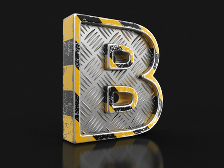 Yellow striped metallic font - letter B.