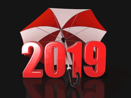 Year 2019 under an umbrella.