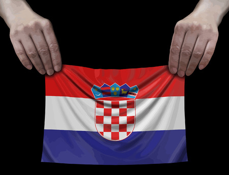 Croatian flag in hands