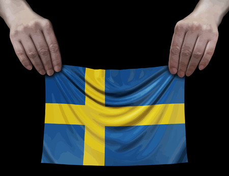 Swedish flag in hands Ilustração