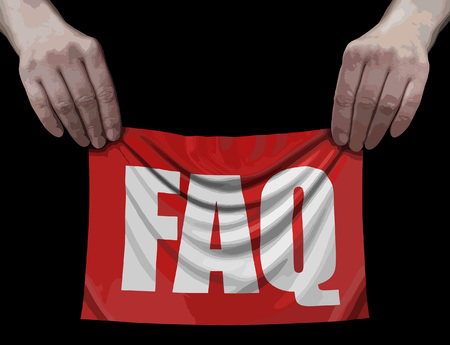 Banner with FAQ in hands 向量圖像
