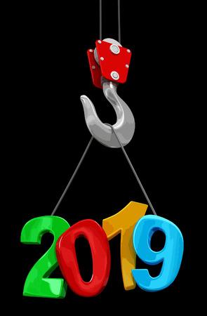 2019 on crane hook. 向量圖像