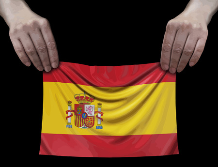Spanish flag in hands