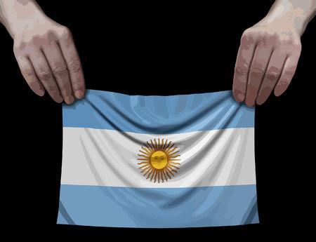 Argentina flag in hands Ilustração