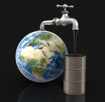 3d Globe and faucet with oil. Image with clipping path Stockfoto