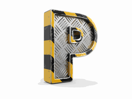 Yellow striped metallic font - letter P. Image with clipping path