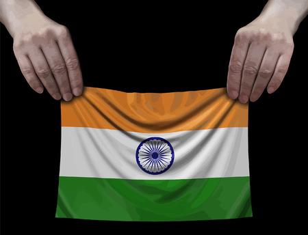 Indian flag in hands Ilustração