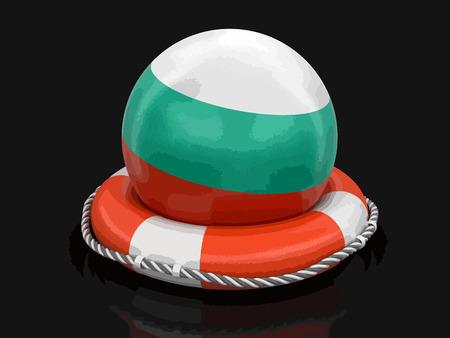 Ball with Bulgarian flag on lifebuoy