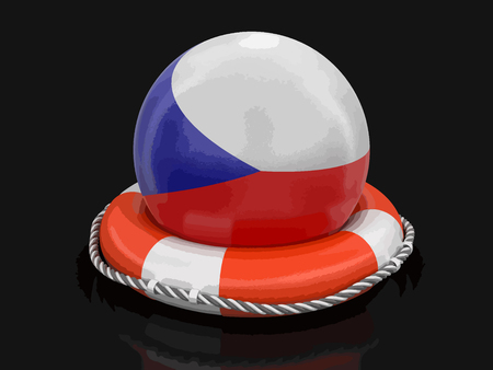 Ball with Czech flag on lifebuoy
