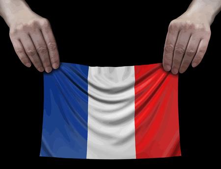 French flag in hands Ilustração