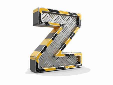 Yellow striped metallic font - letter Z. Image with clipping path Ilustração
