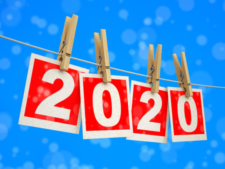 Clothespins on rope with 2020