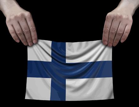 Finnish flag in hands Ilustração