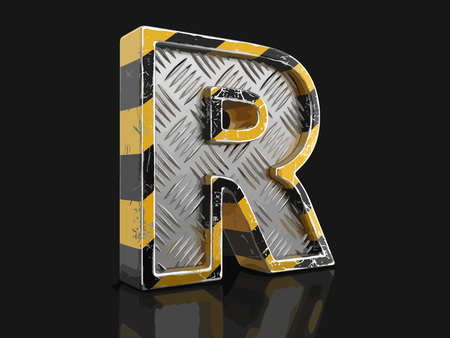 Yellow striped metallic font - letter R. Image with clipping path