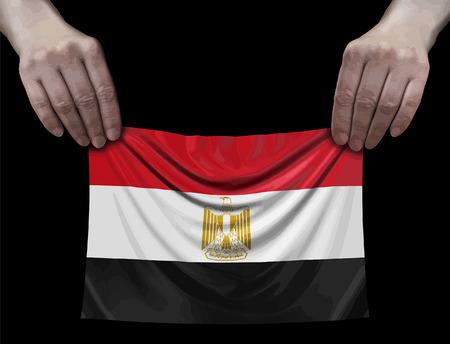 Egyptian flag in hands Ilustração