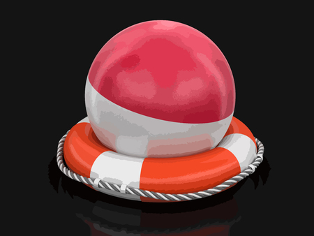 Ball with Indonesian flag on lifebuoy. Image with clipping path