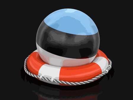 Ball with Estonian flag on lifebuoy. Image with clipping path