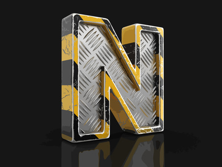Yellow striped metallic font - letter N. Image with clipping path
