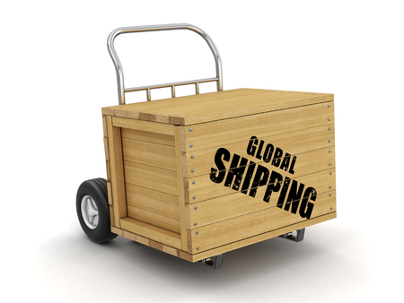 Wooden crate with Global shipping on Hand Truck. Image with clipping path 写真素材