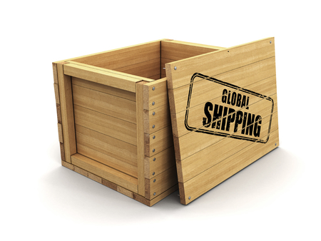 Wooden crate with stamp Global Shipping. Image with clipping path