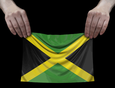Jamaican flag in hands