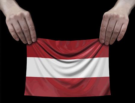 Latvian flag in hands Ilustração