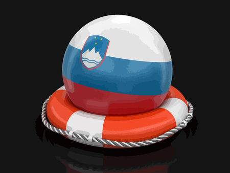 Ball with Slovene flag on lifebuoy. Image with clipping path Ilustrace