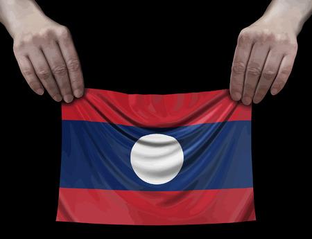 Laos flag in hands