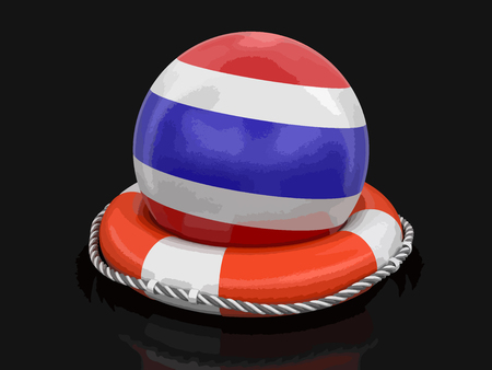 Ball with Thai flag on lifebuoy. Image with clipping path Ilustrace