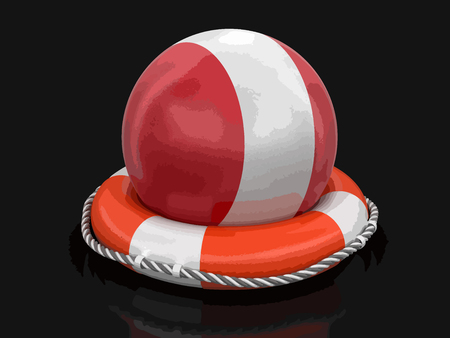 Ball with Peruvian flag on lifebuoy. Image with clipping path