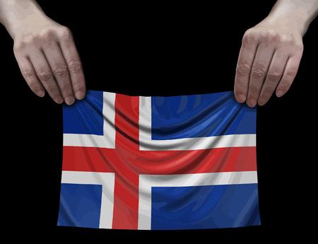 Icelandic flag in hands