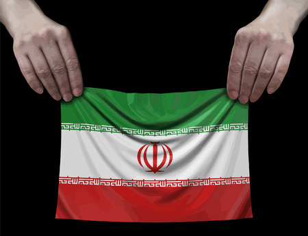 Iranian flag in hands Ilustração