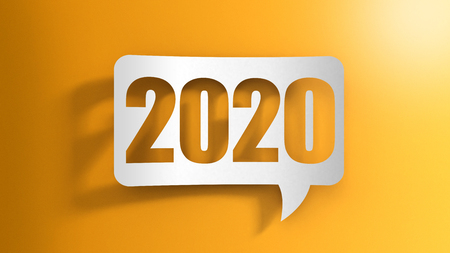 Speech bubble with 2020