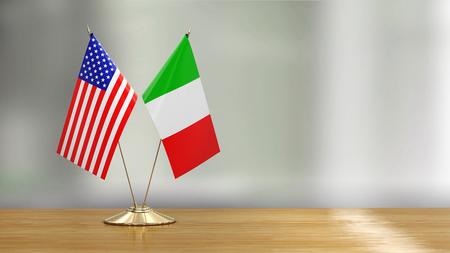 American and Italian flag pair Фото со стока