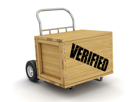 Wooden crate with Verified on Hand Truck. Image with clipping path Stok Fotoğraf