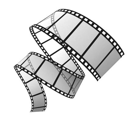3d film strip on white