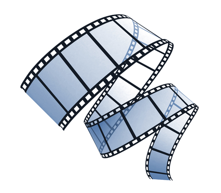 3d film strip on white