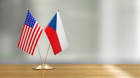 American and Czech flag pair over defocused background Reklamní fotografie