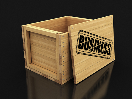 Wooden crate with stamp Business. Image with clipping path Imagens