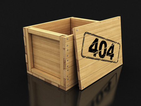Wooden crate with 404. Image with clipping path