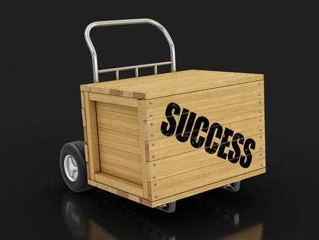 Wooden crate with Success on Hand Truck. Image with clipping path