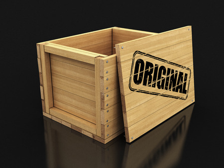 Wooden crate with stamp Original. Image with clipping path