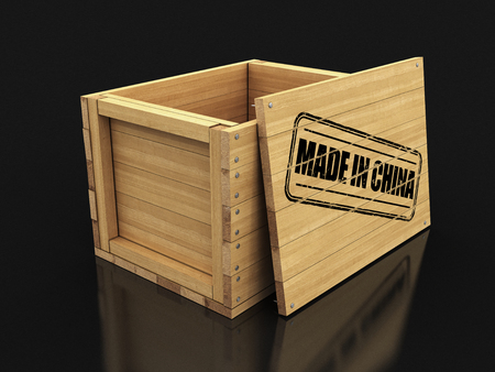 Wooden crate with stamp Made in China. Image with clipping path
