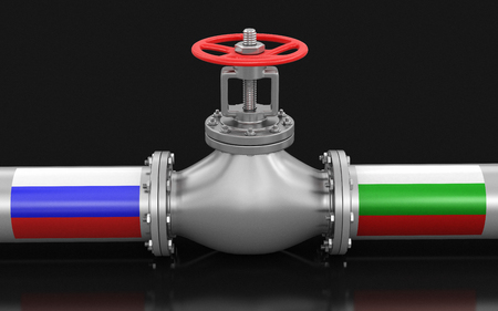 Pipeline with flags. Image with clipping path
