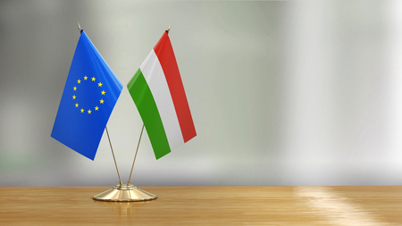 European Union and Hungarian flags Stock Photo
