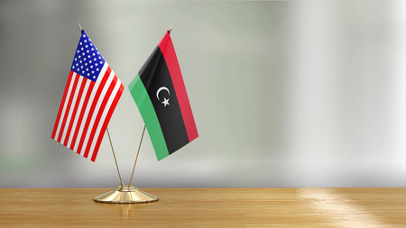 American and Libya flags