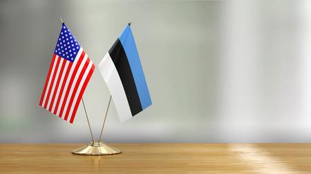 American and Estonian flag over defocused background Imagens - 124898147