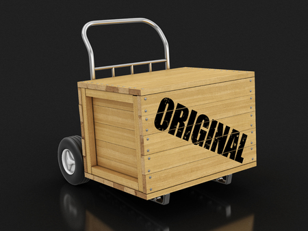 Wooden crate with Original on Hand Truck. Image with clipping path