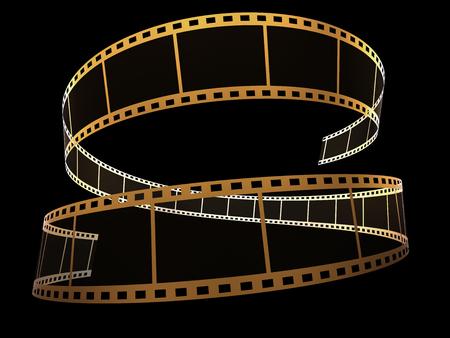 3d film strip on black